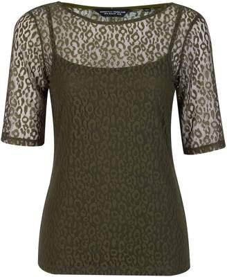 78c1446fe2b3 Dorothy Perkins Womens Khaki Leopard Print Lace T