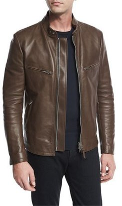 TOM FORD Leather Café Biker Jacket, Brown $6,990 thestylecure.com