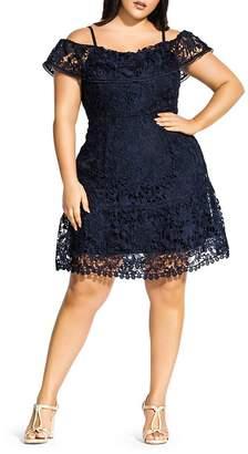 City Chic Plus Cold-Shoulder Lace Dress