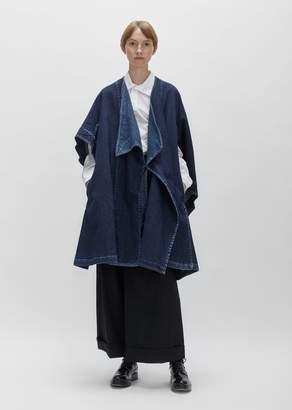 Yohji Yamamoto Cotton Linen Denim Cloak Blue