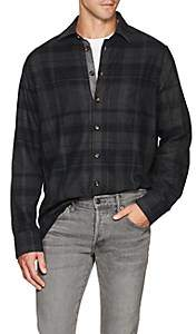 Luciano Barbera Men's Checked Cotton Flannel Shirt - Navy