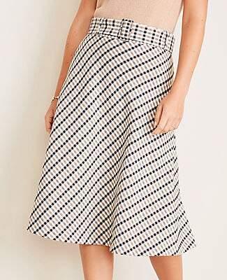 Ann Taylor Modern Plaid Belted Full Skirt