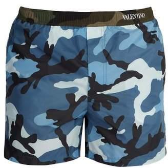 Valentino Camouflage Print Swim Shorts - Mens - Blue