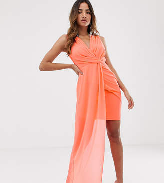 51397ca86e0c TFNC wrap front dress with asymmetric hem in coral