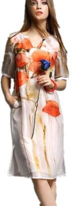 Bobbycool Spring And Summer Fashion V Collar Sleeve Silk Slim Dress