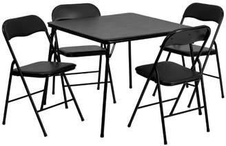 Riverstone Furniture 5pc Folding Square Table Set Black - Riverstone Furniture Collection