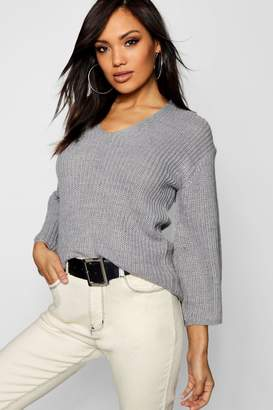 boohoo V Neck Half Cardigan Knit Jumper