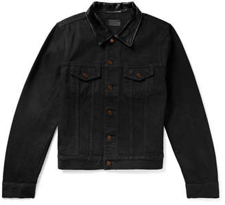 Saint Laurent Leather-trimmed Denim Jacket - Black