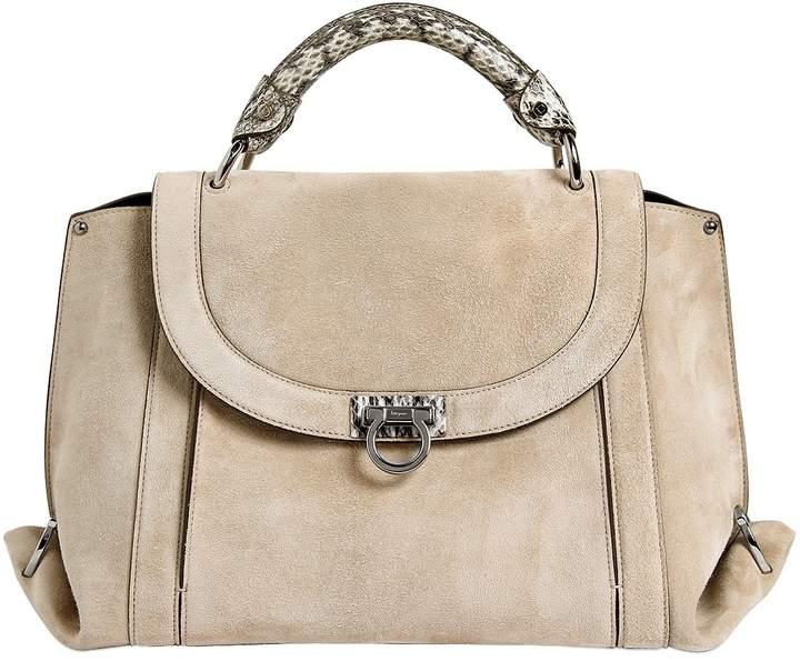 Medium Soft Sofia Suede Top Handle Bag