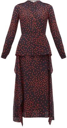 Stella McCartney Polka Dot Print Draped Panel Silk Dress - Womens - Navy