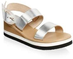 Ancient Greek Sandals Clio Metallic Leather Wedge Sandals