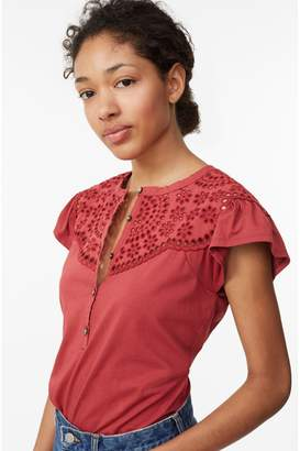 Rebecca Taylor La Vie Clean Jersey Tee With Eyelet
