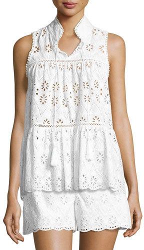 Kate SpadeKate Spade New York Sleeveless Floral Eyelet Top, Fresh White