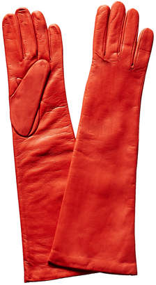 Portolano Poppy Red Cashmere-Lined Leather Gloves