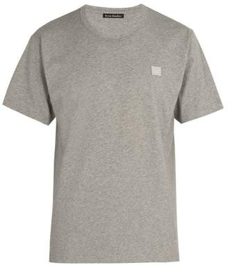Acne Studios Nash Face Embroidered Cotton Jersey T Shirt - Mens - Grey