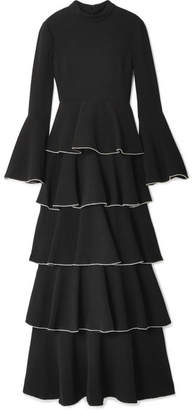 Rachel Zoe Paola Tiered Crystal-embellished Crepe Maxi Dress - Black