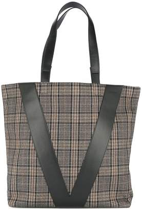 Ports V plaid shopper tote