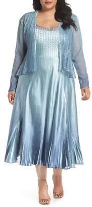 Komarov Lace & Charmeuse A-Lined Dress with Jacket