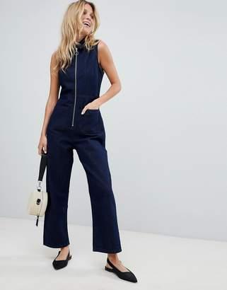Asos Design DESIGN denim zip through jumpsuit in indigo