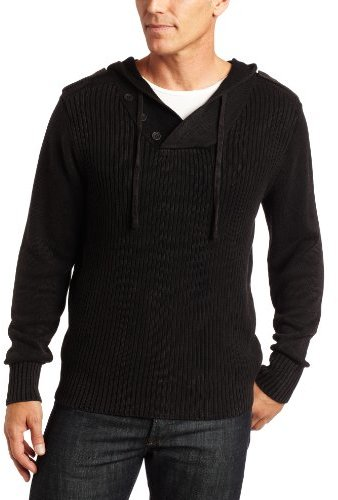 Alex Stevens Men's Ribbed Acid Wash 3 Button Pullover w/Hoodie