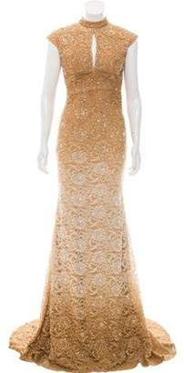 Jovani Embellished Lace-Accented Dress Gold Embellished Lace-Accented Dress