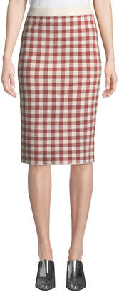 ENGLISH FACTORY Gingham Knit Pencil Skirt