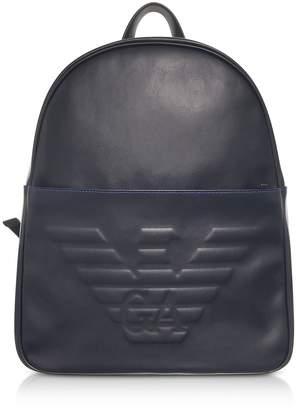Emporio Armani Black Eagle Embossed Eco Leather Men's Backpack