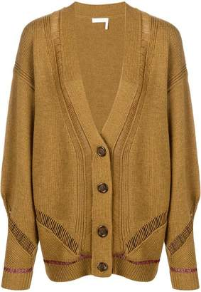 See by Chloe longline sheer stripe cardigan