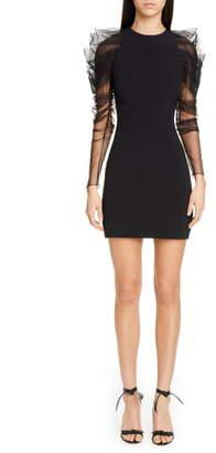 Cushnie Tulle Long Sleeve Minidress