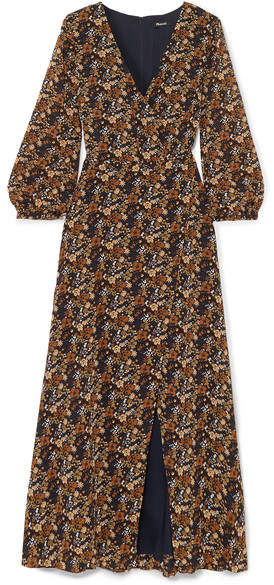 Madewell - Wrap-effect Floral-print Georgette Maxi Dress - Brown