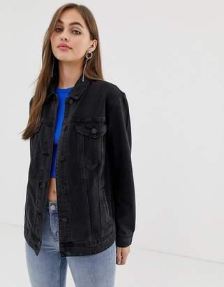 Noisy May oversized denim jacket in black