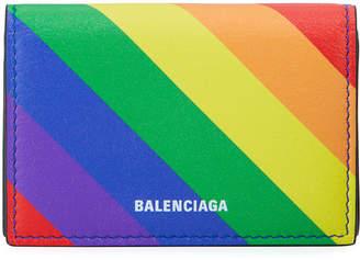 Balenciaga Ville Rainbow Leather Mini Wallet