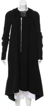 Rick Owens Shearling-Trimmed Cashmere Coat