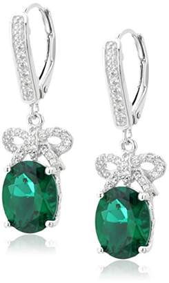 Sterling Silver Created Emerald Oval Cut 10x8mm and Created White Sapphire Bow Ribbon Leverback Dangle Earrings