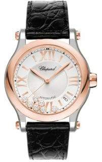 Chopard Happy Sport Diamond 18K Rose Gold, Stainless Steel& Leather Strap Watch