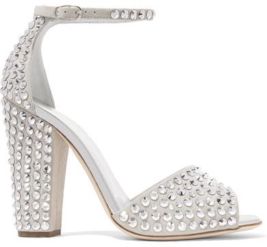 Giuseppe Zanotti - Crystal-embellished Suede Sandals - Light gray
