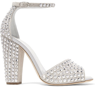 Giuseppe Zanotti - Crystal-embellished Suede Sandals - Light gray $1,295 thestylecure.com