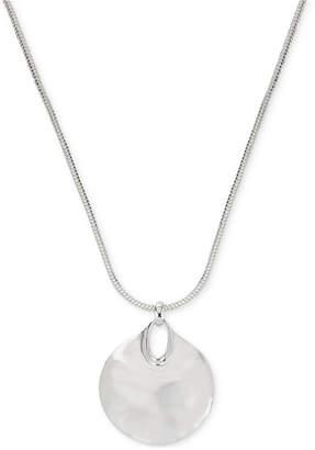 Robert Lee Morris Soho Silver-Tone Hammered Disc Pendant Necklace