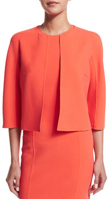 Michael Kors 3/4-Sleeve Open-Front Jacket, Persimmon $1,395 thestylecure.com