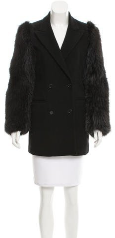 MSGM Fox Fur-Trimmed Wool Coat