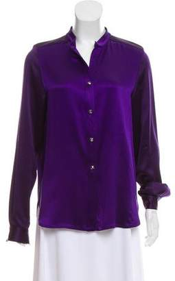 Wes Gordon Long Sleeve Silk Top