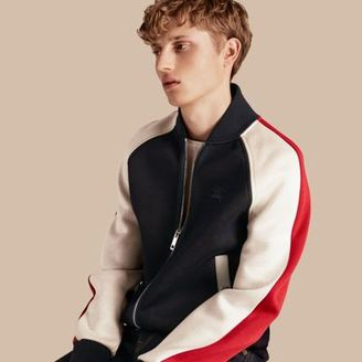 Burberry Panelled Jersey Bomber Jacket $695 thestylecure.com