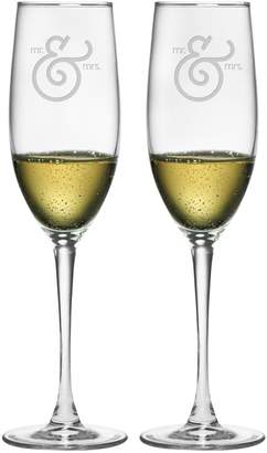 Susquehanna Glass Co. Mr. and Mrs. Ampersand Champagne Flute Glasses (Set of 2)