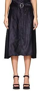 Sies Marjan Women's Rayna Charmeuse Belted A-Line Skirt - Dark Navy
