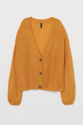 H&M Rib-knit Cardigan - Yellow