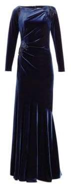 Teri Jon by Rickie Freeman Long-Sleeve Velvet Applique Gown