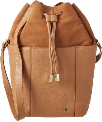 Halston Drawstring Leather Bucket Bag