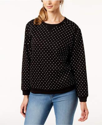 Karen Scott Dot-Print Sweatshirt