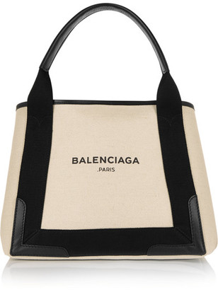 Balenciaga - Cabas Leather-trimmed Canvas Tote - Beige $950 thestylecure.com