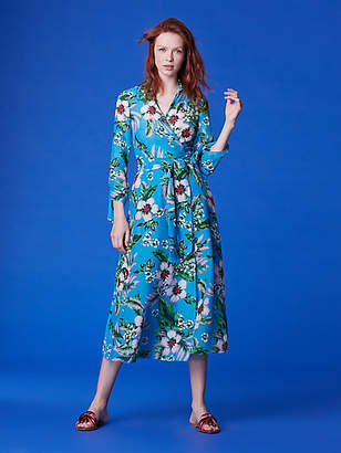 Diane von Furstenberg Cinched Sleeve Collared Wrap Dress Cover-Up
